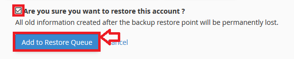 cpanel restore conditions file