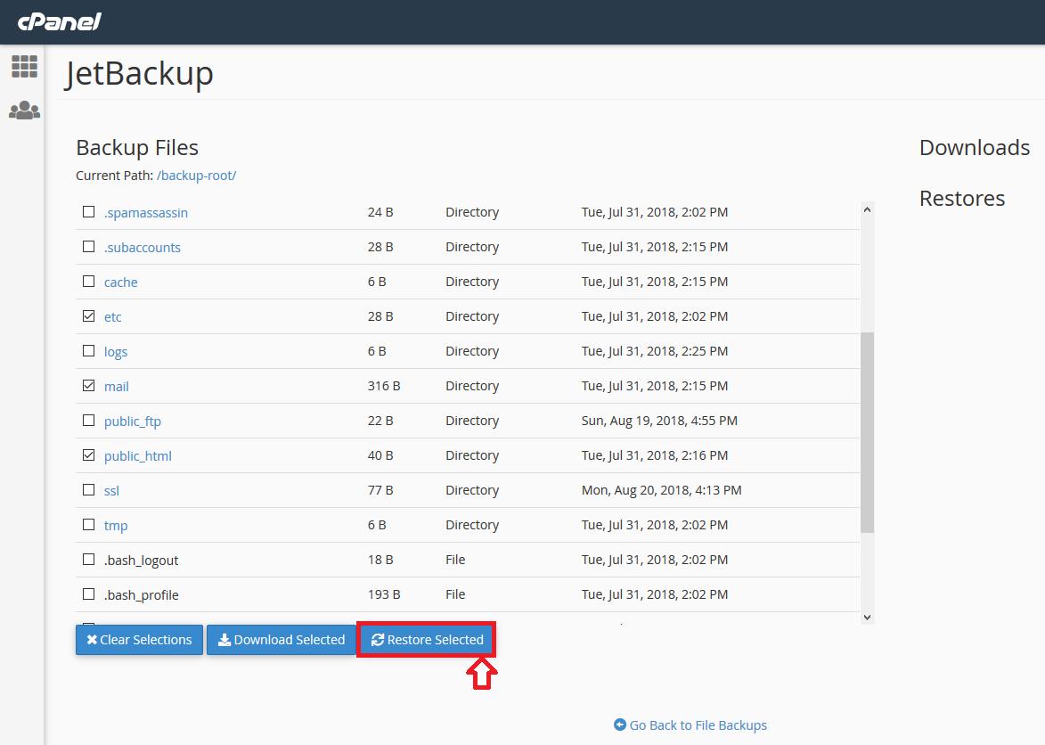 cpanel restore file