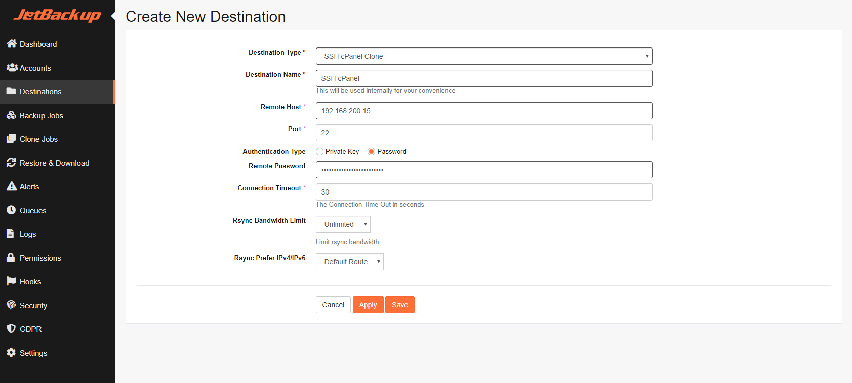 SSH cPanel Clone — JetBackup Documentation documentation